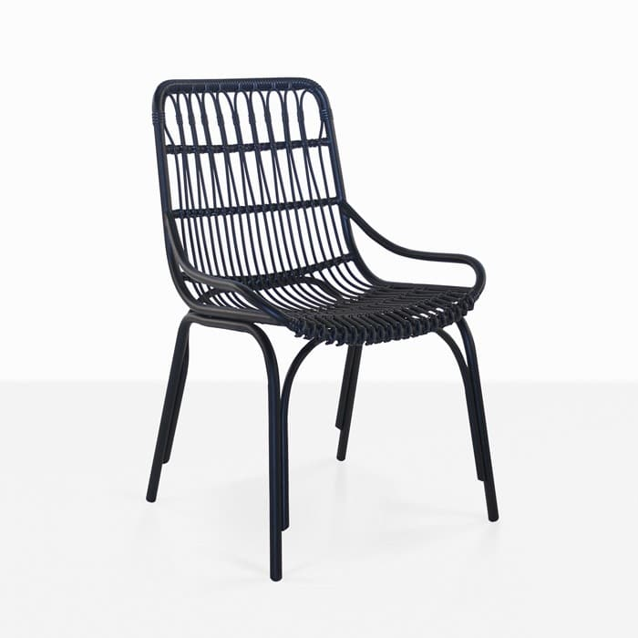 Sydney Outdoor Wicker Dining Chair black angle view