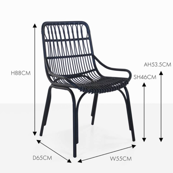 Sydney outdoor wicker black dining chair