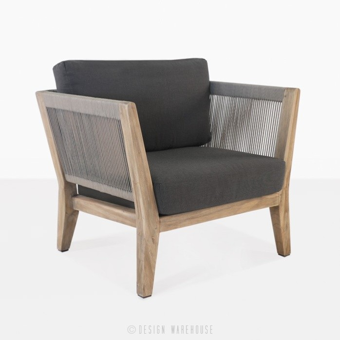 Ventura reclaimed teak club chair and rope lounge chair angle view