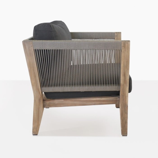 Ventura reclaimed teak club chair with rope side view