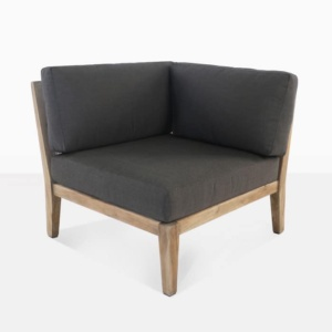 Ventura reclaimed teak and rope sectional corner black with cushions angle view
