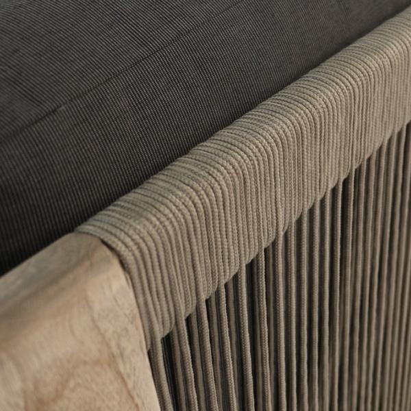 Ventura reclaimed teak and rope sectional corner black closeup image