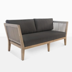 Ventura reclaimed teak loveseat angle view
