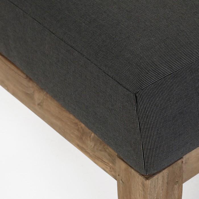 Ventura reclaimed teak ottoman with black cushion