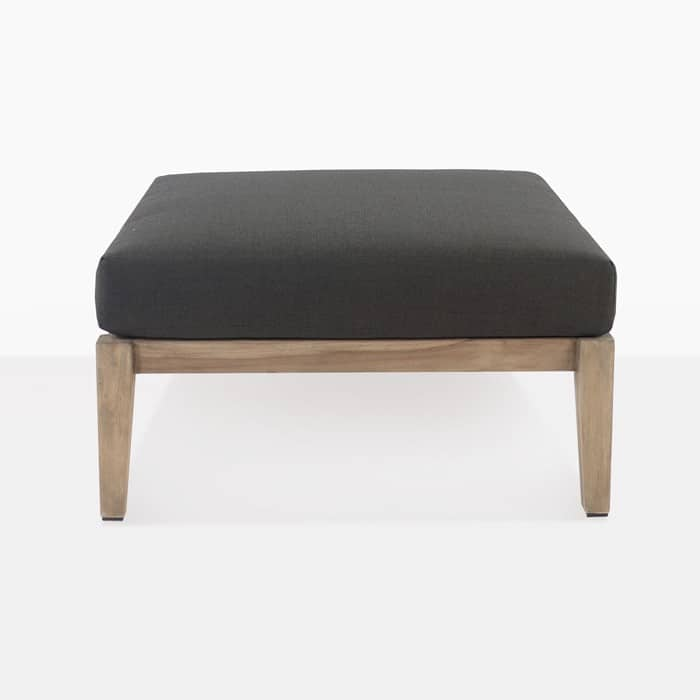 Ventura reclaimed teak ottoman with black cushion full front view