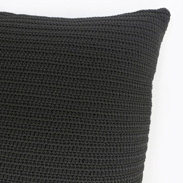 Gigi rectangle crocheted black throw pillow corner