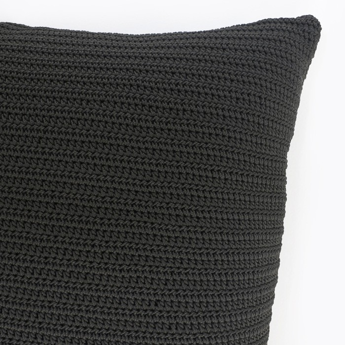 Gigi square crocheted throw pillow black corner