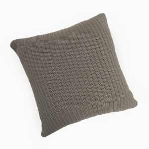 Gigi square hand crocheted throw pillow pebble brown full view