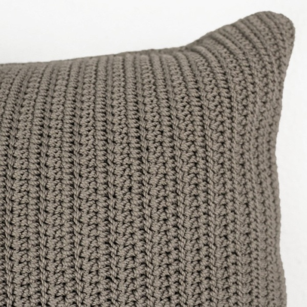Gigi rectangle crocheted throw pillow pebble brown closeup corner