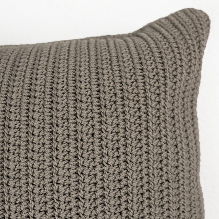 Gigi rectangle crocheted throw pillow pebble brown closeup corner