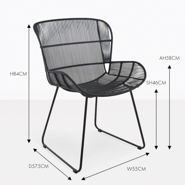 Nairobi black wicker outdoor dining chair