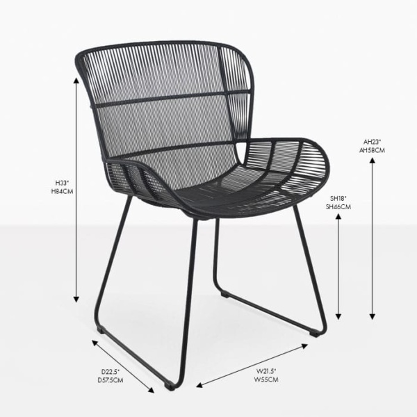 Nairobi black wicker dining arm chair