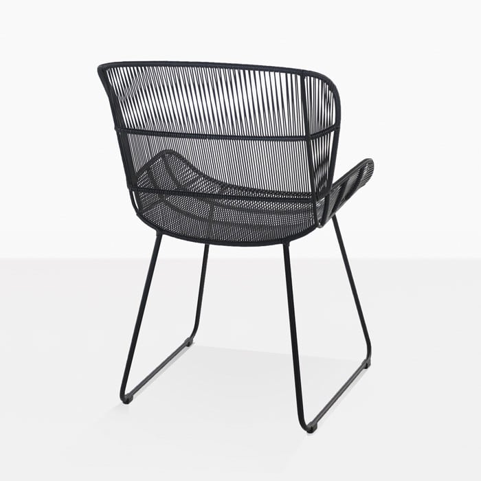 Nairobi Woven Dining Arm Chair black 3015 back view