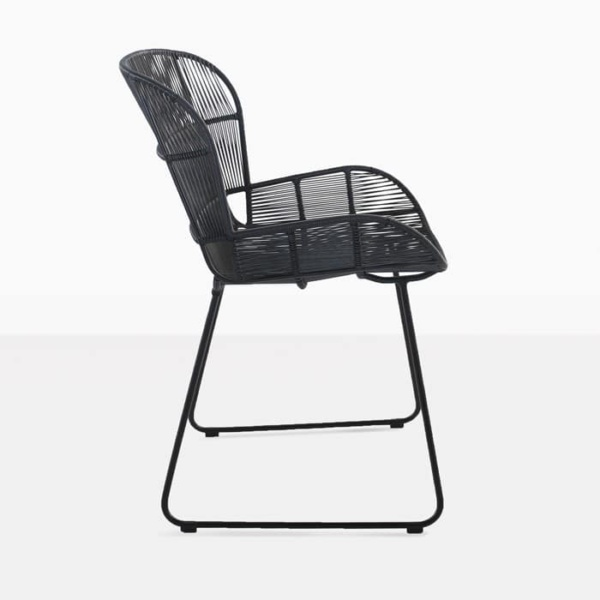 Nairobi Woven Dining Arm Chair Black 3016 side view