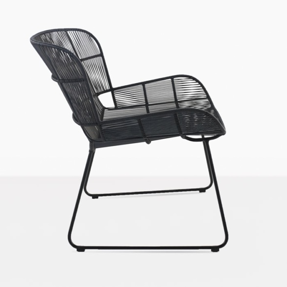 Nairobi woven relaxing chair modern woven lounge chair black side view