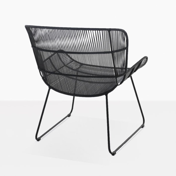 Nairobi woven relaxing chair modern outdoor lounge chair black back view
