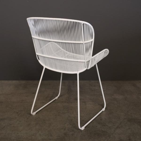 Nairobi Woven Dining Arm Chair white 3022 rear view