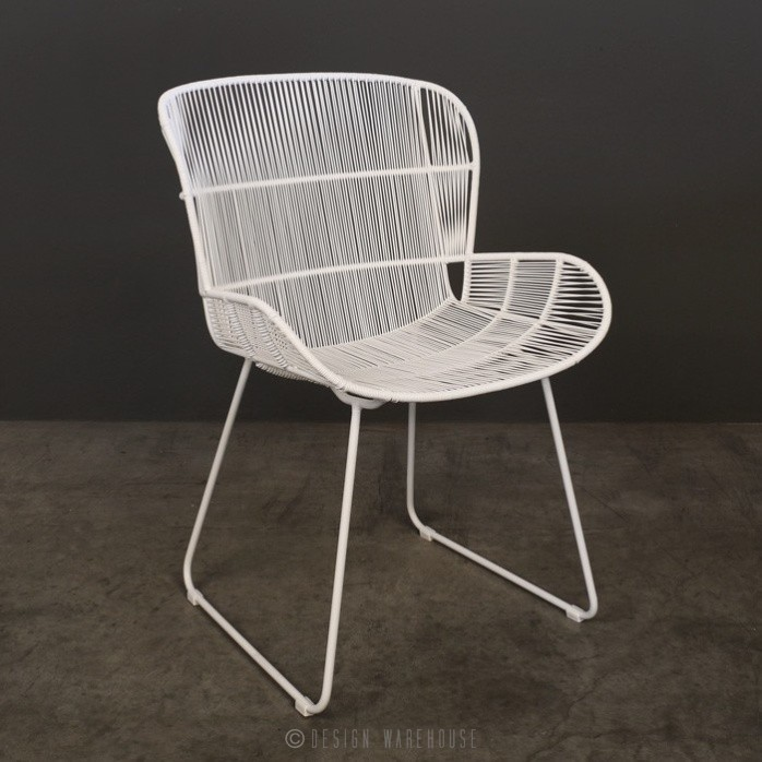 Nairobi Woven Dining Arm Chair white full view