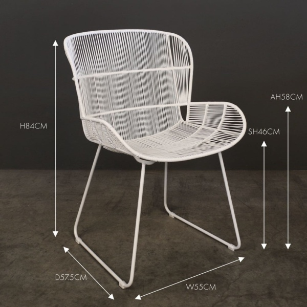Nairobi white wicker dining chair