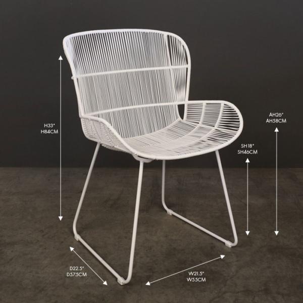 Nairobi white wicker dining arm chair