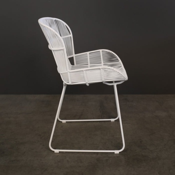 Nairobi Woven Dining Arm Chair white 3023 side