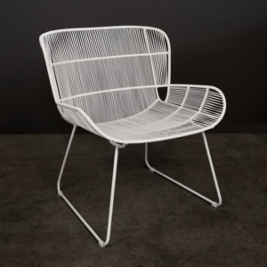 White Nairobi outdoor woven lounge chair angle view