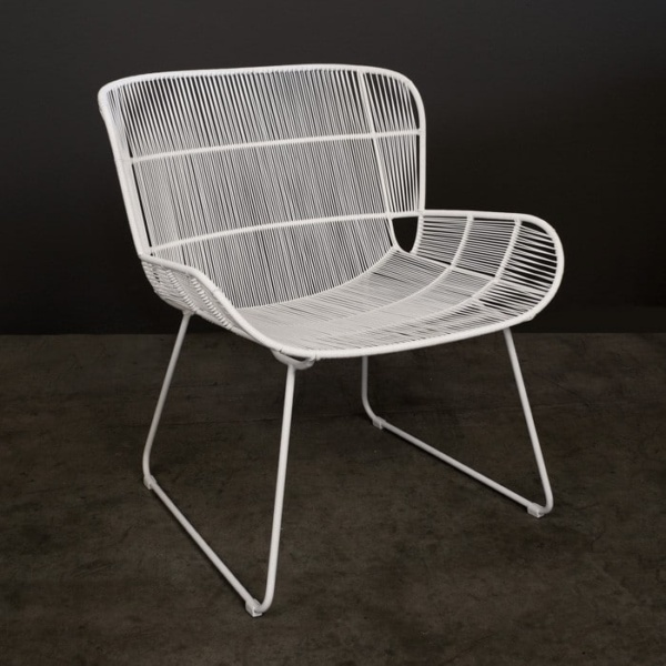 White Nairobi outdoor woven lounge chair angle view