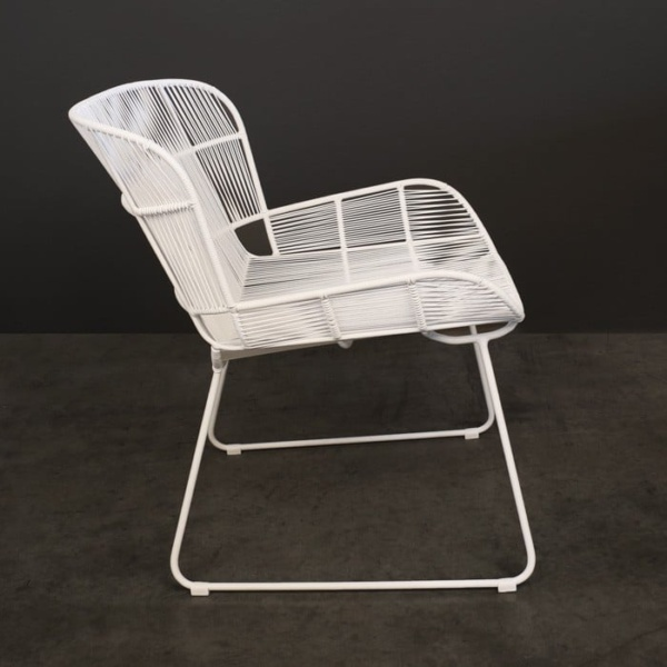 White Nairobi outdoor woven lounge chair in white side view