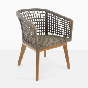 Ravoli rope and teak outdoor dining chair front angle view