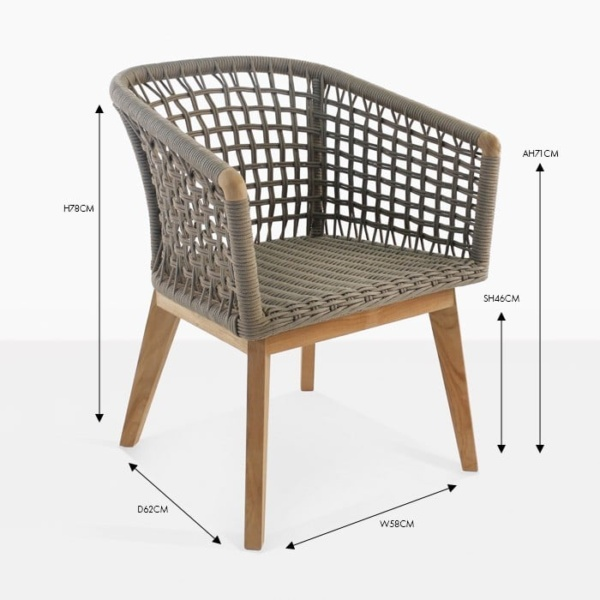 ravoli rope teak dining chair