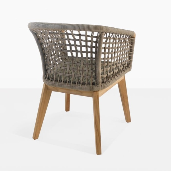 Ravoli rope dining chair taupe teak and rope back view
