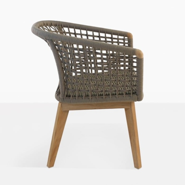 Ravoli rope dining chair taupe rope and teak outdoor side view