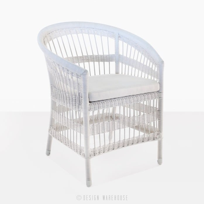 Sahara Wicker Dining Chair white front angle view