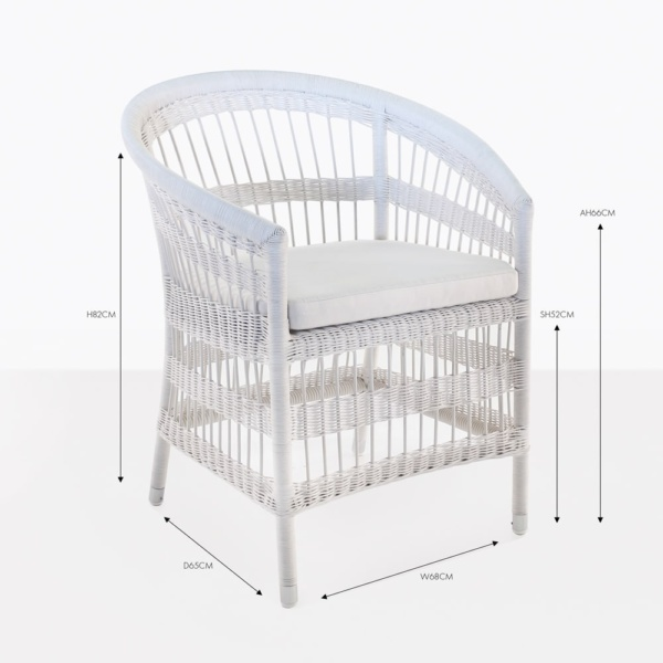 sahara white wicker dining chair