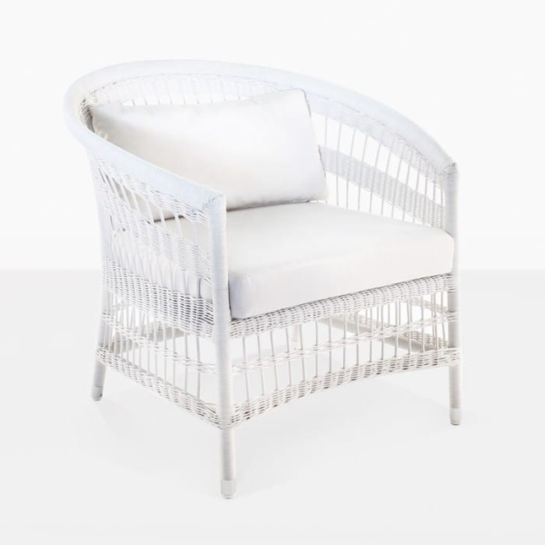 Sahara White Wicker Patio Chair with cushions angle view