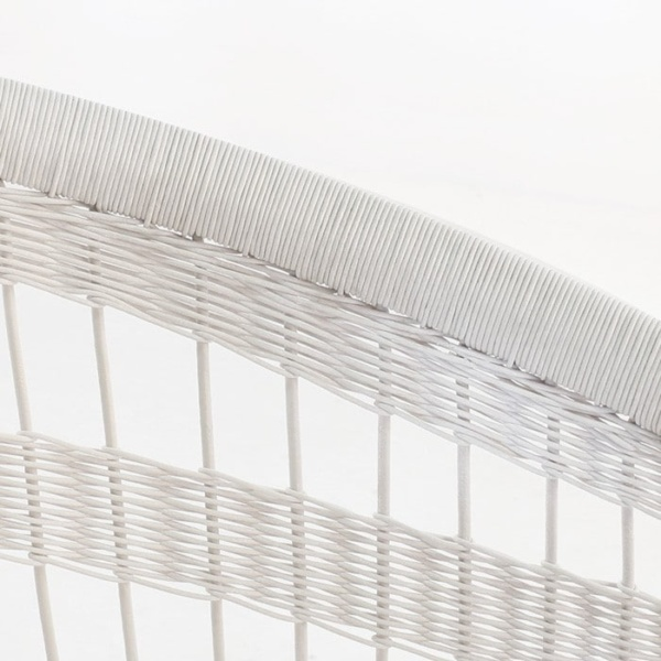 Sahara White Wicker Patio Chair closeup image