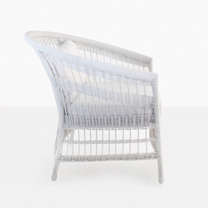Sahara White Wicker Patio Chair side view