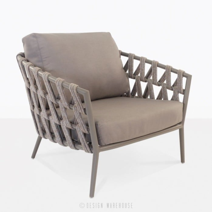 Wellington rope and aluminum club chair in taupe angle view