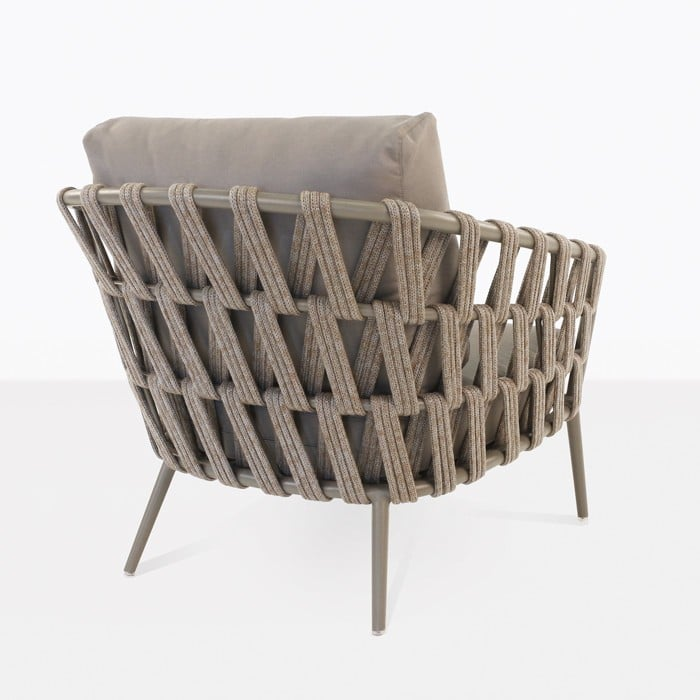 Wellington taupe color rope frame club chair rear view