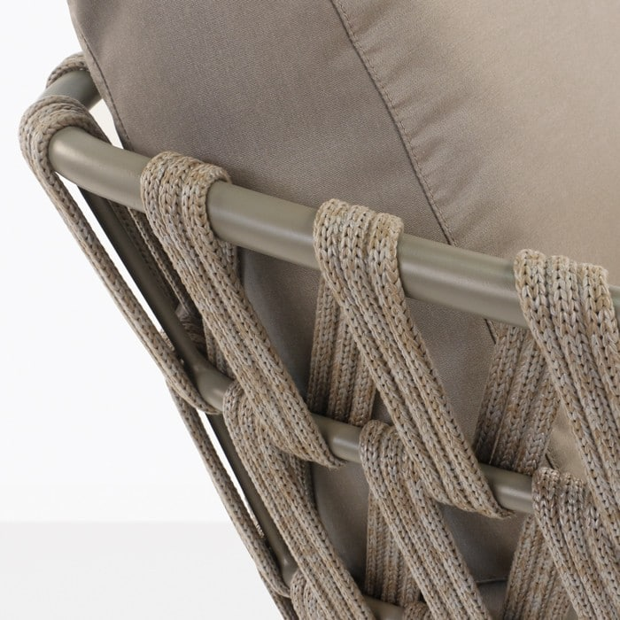 Wellington taupe rope and aluminum chair frame closeup rear