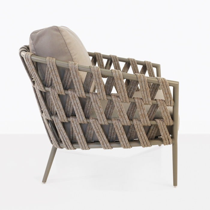 Wellington taupe rope and powder coated aluminum club chair side view