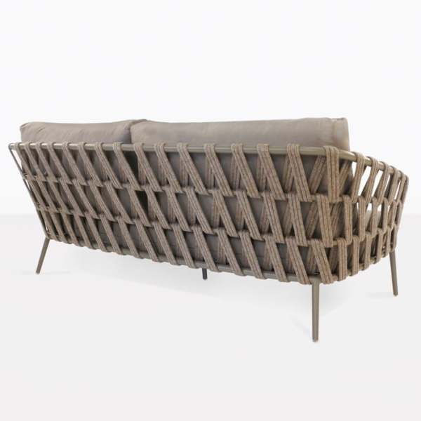 Wellington three seat taupe sofa with woven rope frame rear angle view