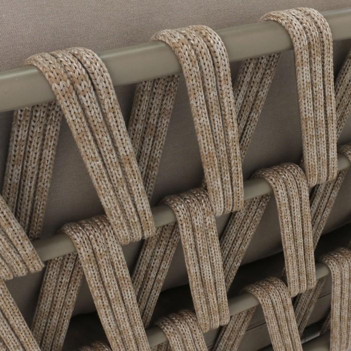 Wellington taupe rope and aluminium outdoor sofa detail image rear