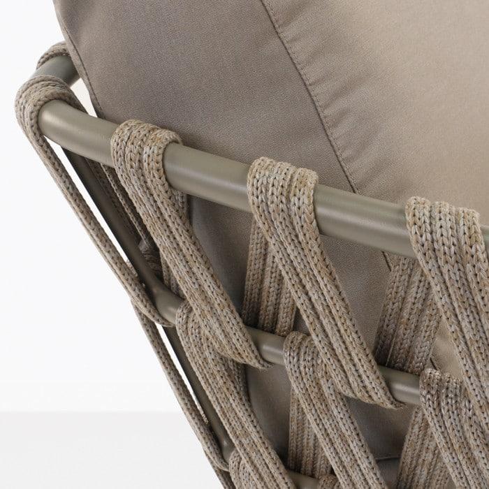 Wellington aluminium and rope sofa frame closeup image in taupe
