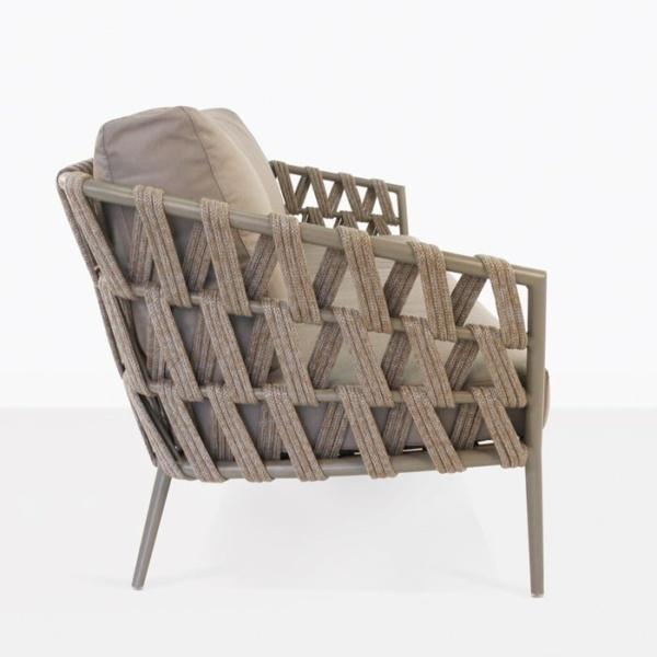 Wellington three seat woven rope and aluminium sofa taupe side angle view