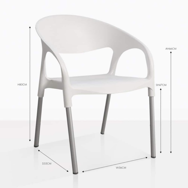 libby white plastic dining arm chair