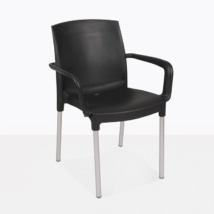 Chloe cafe black plastic outdoor dining arm chair angle view