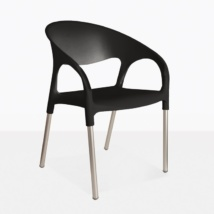 Libby Cafe black plastic dining chair angle view