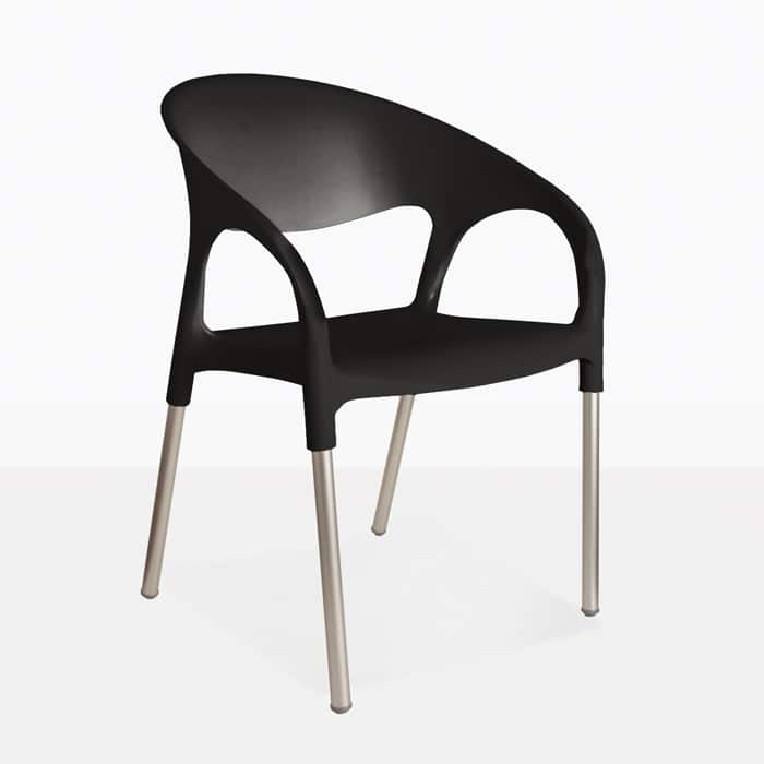 Libby cafe dining chair black restaurant seating for Black plastic dining chairs