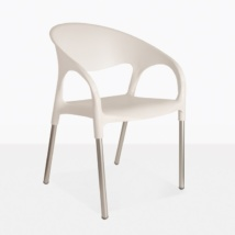 Libby Cafe plastic and aluminum dining chair white angle view